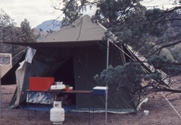 Our tent, with kitchen table in front