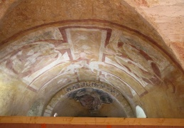 Ochre frescoes, 850AD, crypt, Cathedrale St Etienne, Auxerre