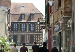 Auxerre Street and old wooden house