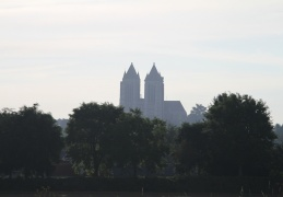 Cathedral Spires at Noyon from the Canal