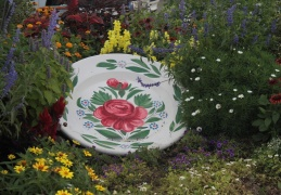 Huge decorative  garden plate, Sarreguemines