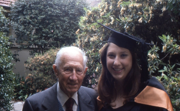 With Grandpa John. He graduated about 70 years earlier with the same degree