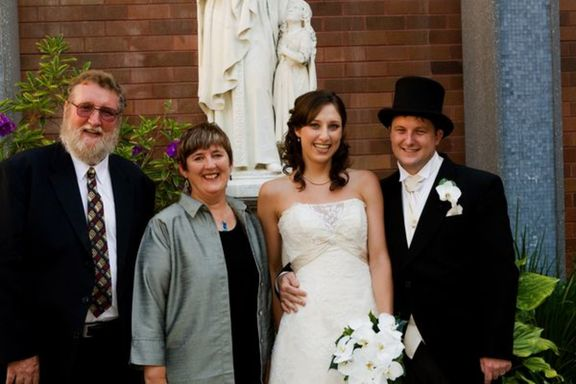 With Bernadette's Godparents, Rob & Frances Moore