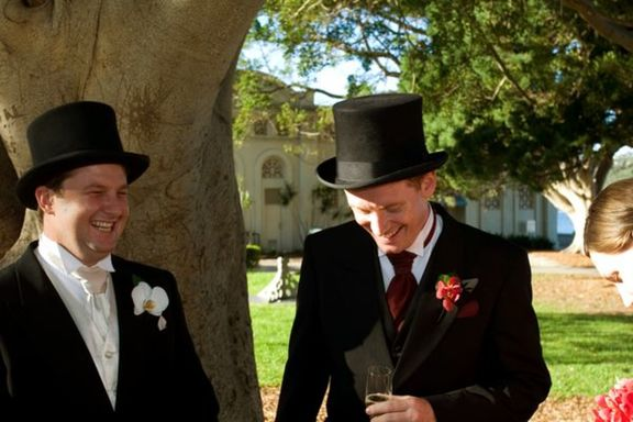 Groom and Best Man (Mark) having a joke