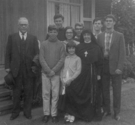 Cunliffe family with Mervyn, Chris & Paul Jurd about 1965
