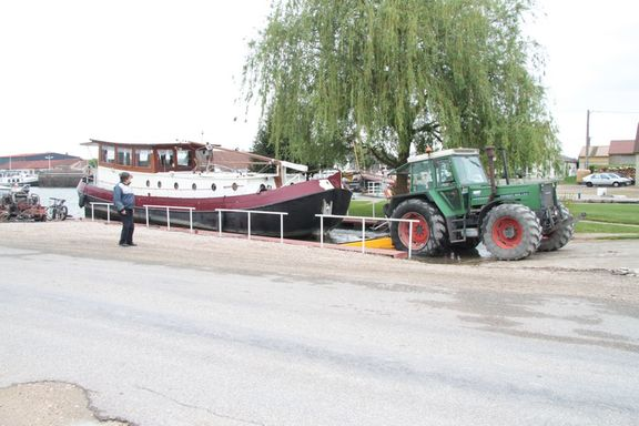 Our new old barge, Anja, out of the water