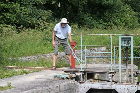 Peter Aston working a lock gate