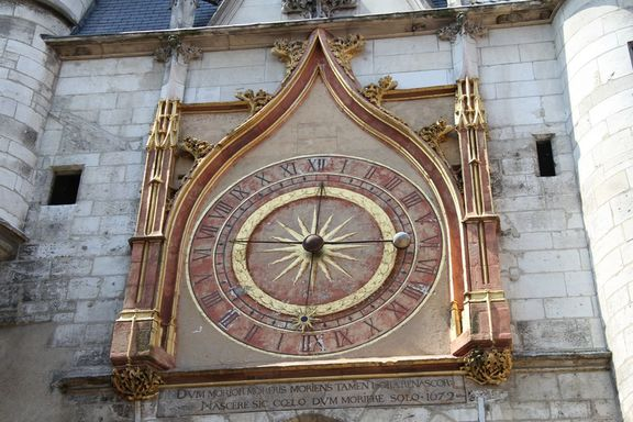 Tour de l'Horloge, 15th Century painted clock face.