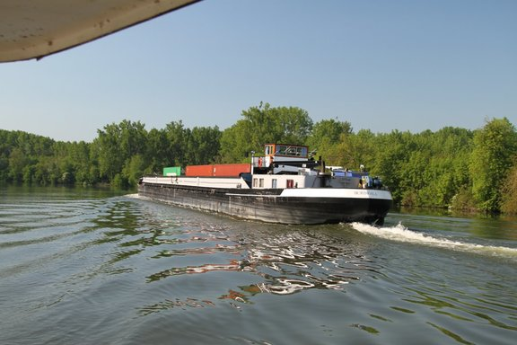 Commercial barge on the river