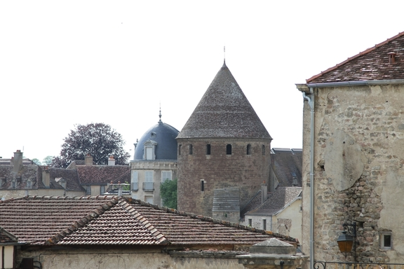 Old buildings in the fortified town,Semur in Auxois