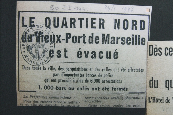 German warning of the evacuation of the area before it was blown up