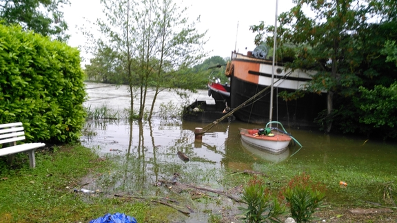 The flooded boat yard, early June