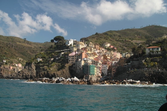 View from the Ferry, looking towards Riomaggiore