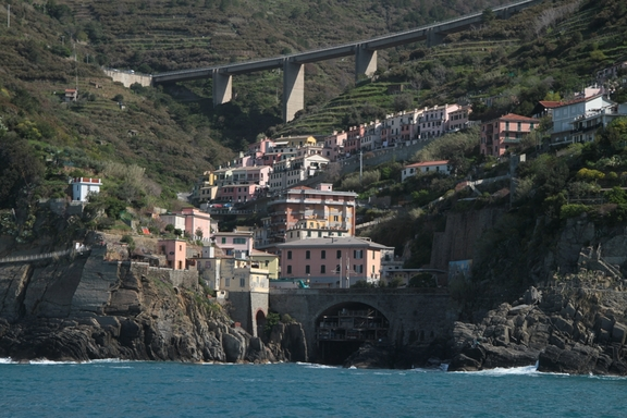 View from the Ferry, looking towards Manarola