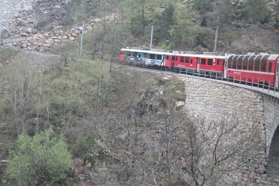 View of the train up the Bernina Pass