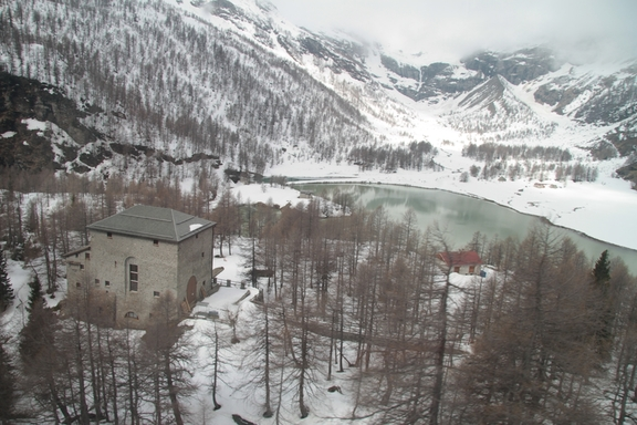 View from the train up the Bernina Pass