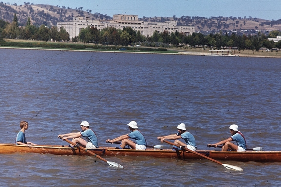 Jim and rowing crew, Lake Burley Griffin early 70s