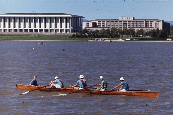 Jim and rowing crew, Lake Burley Griffin