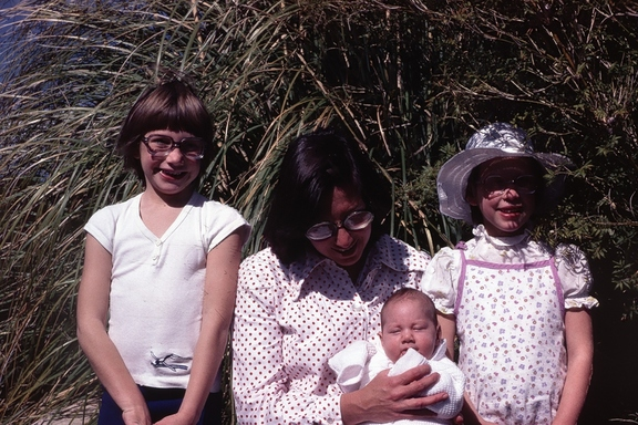 Liz, Penny with Bernadette, Wendy, 1980