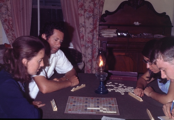 Scrabble by cvandllight at Blackheath during a blackout: Jo, Paul, Penny, David