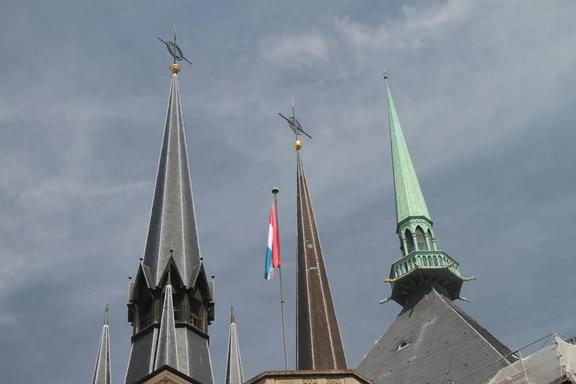 Interesting spires on Cathedral, Luxembourg