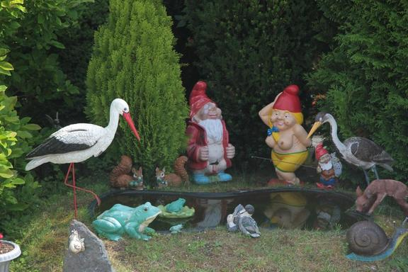 Naughty gnomes, canalside