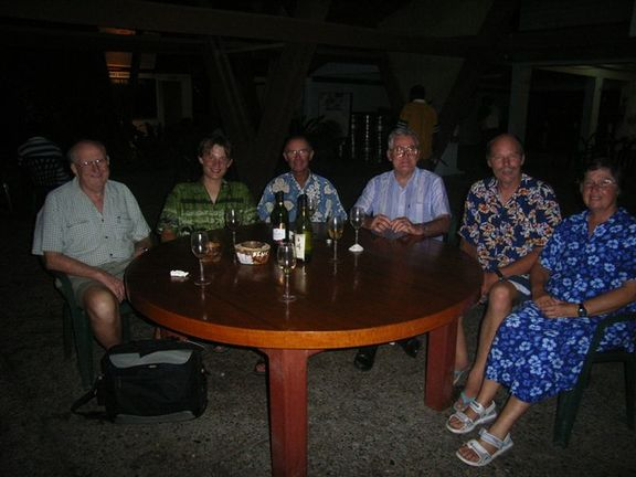 Dinner at Honiara Yacht Club, withBishop Bernard O'Grady (left) and  Archbishop Adrian Smith (Centre)