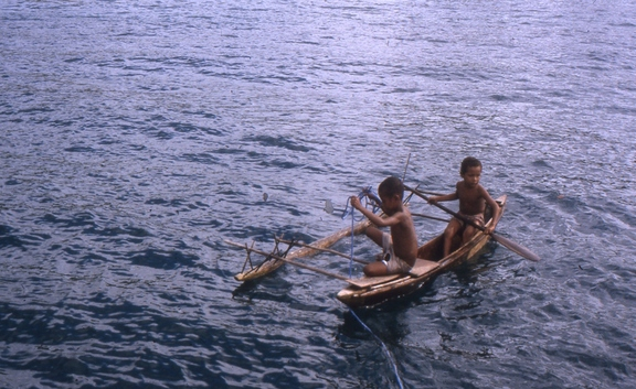 Visitors near Logeia Pata Bay, PNG