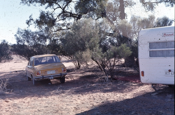 Our Caravan and car, BMR Pooncarie Survey Camp, May/ June 1975