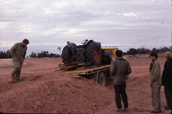 Unloading the tractor