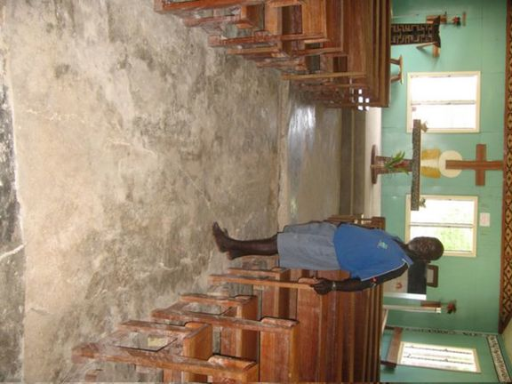 Church floor badly undermined and half wrecked
