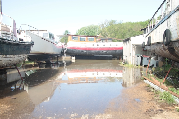 Floodwater in the boatyard