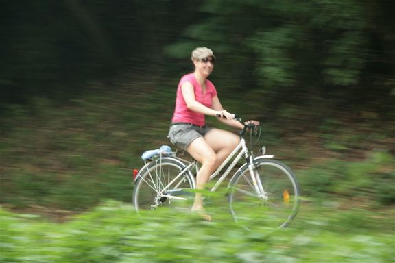 Bernadette using the tow path