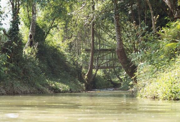 Bridge across river, leading to Long Lematut