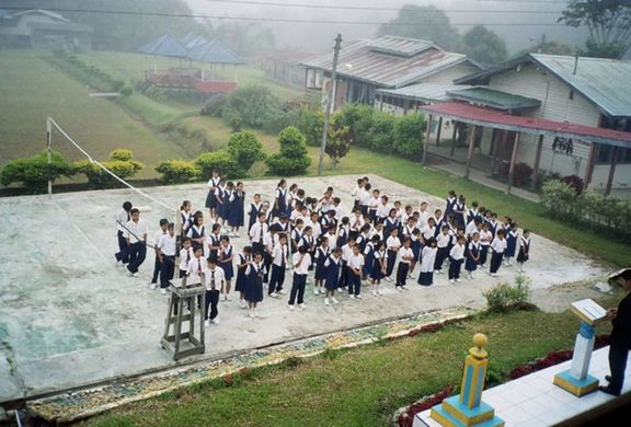 the school lining up for assembly