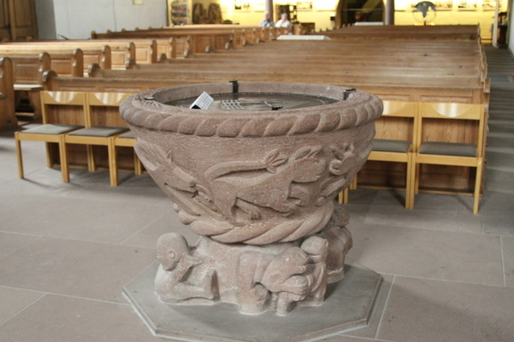 Baptismal font from 1100, Stadtkirche,  Freudenstadt, Germany