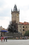 Jan Hus Monument, Old Town Square with Astronomical Clock under renovation in the background