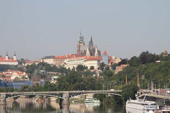 Looking across the Vitava River to Prague Castle