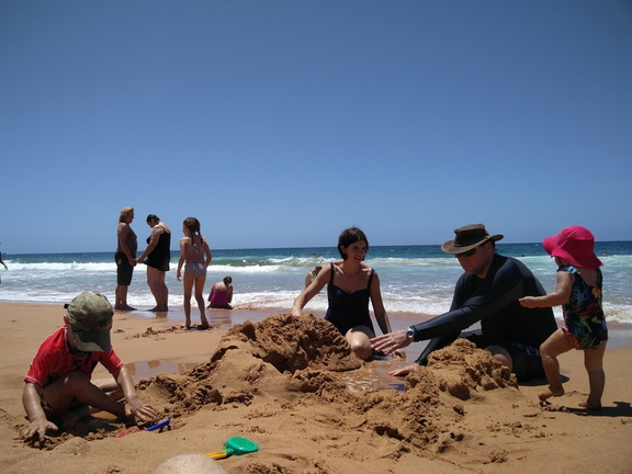 Angela, Paul and children at Clareville Beach